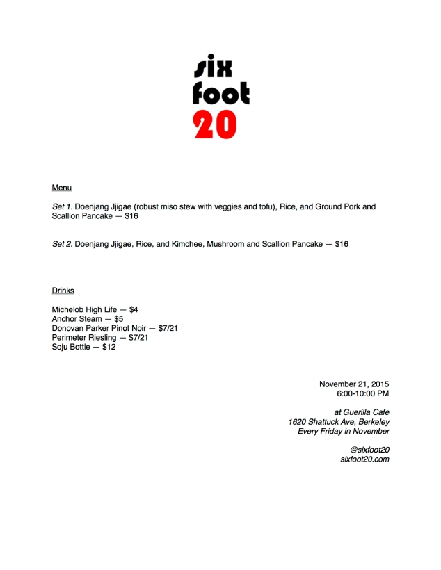 Menu for SixFoot20 Pop-up, November 21, 2015